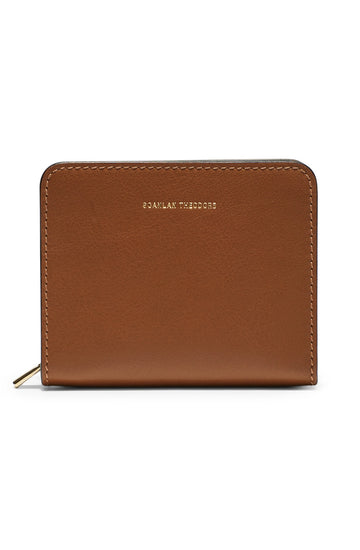 Small Wallet, four credit card slots, three internal compartments, gold contrast zip, gold embossed logo, color tan