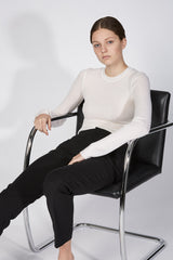 BABYWOOL CUFFED CREW NECK WHITE