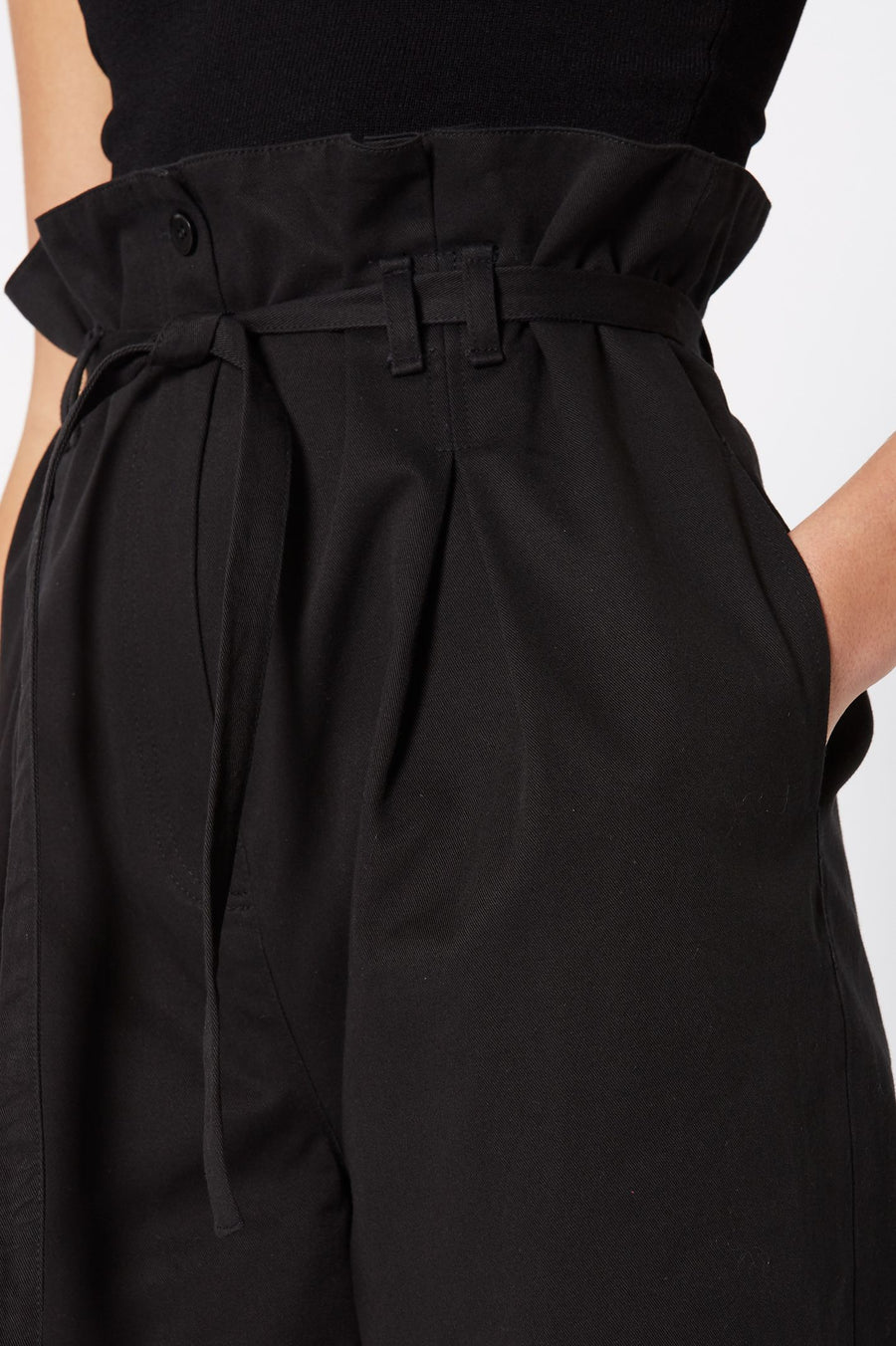 Pleat Front Trouser Black, High Rise, Black Color, Welt Pockets, Side Seam Pockets