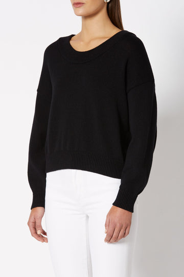 COTTON SPARKLE SWEATER is long sleeve with crew neck, color BLACK