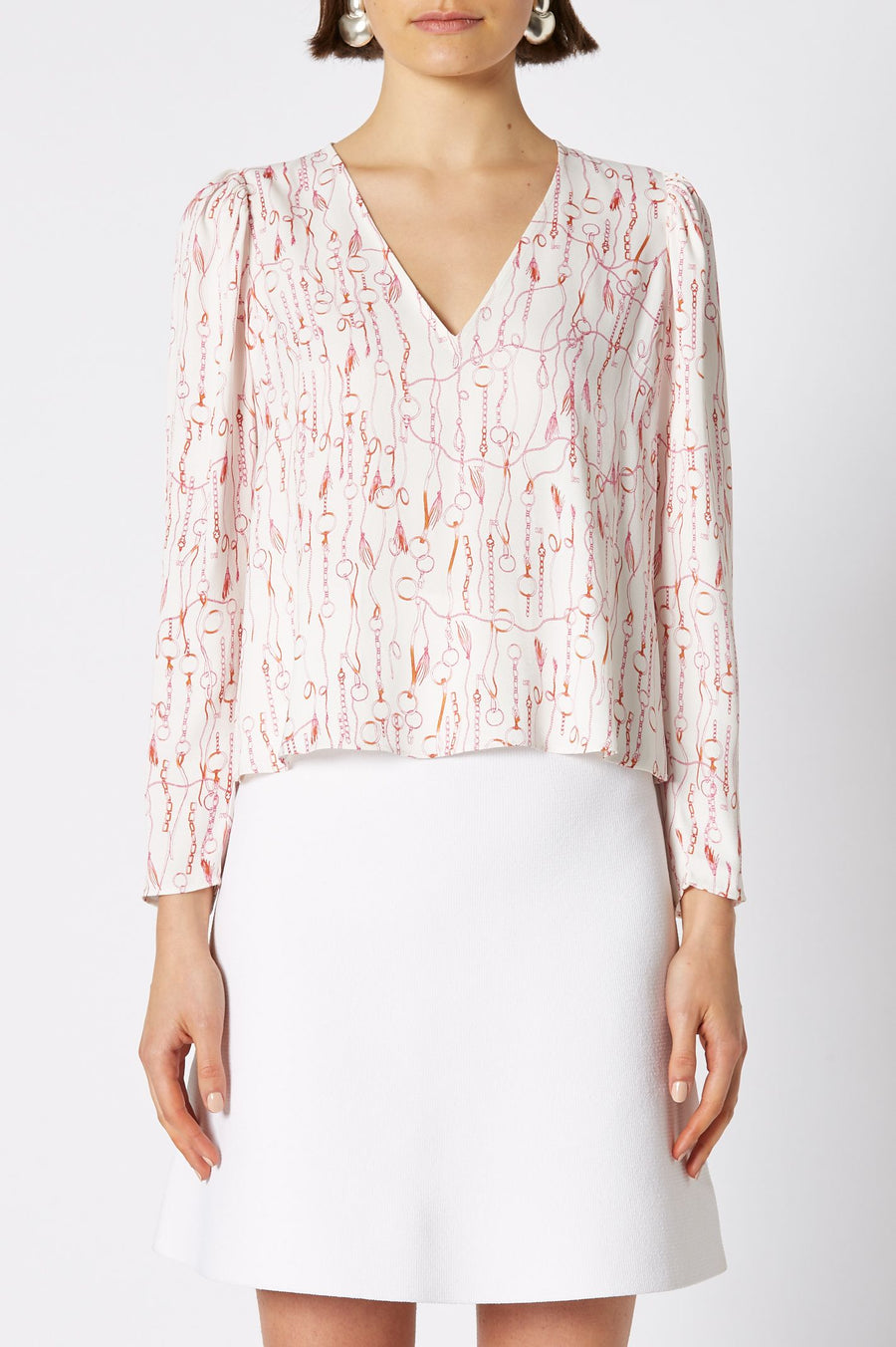 Chain Print Blouse White, relaxed fit, long sleeves, v-neckline.