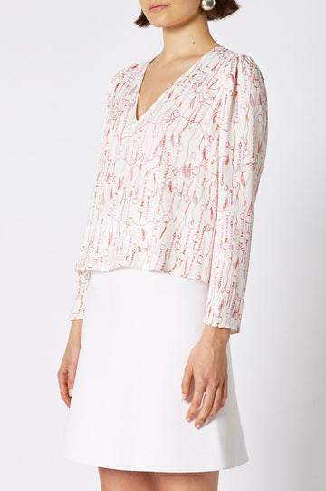 CHAIN PRINT BLOUSE, V NECK, 3 QUARTER SLEEVE, COLOR WHITE PINK