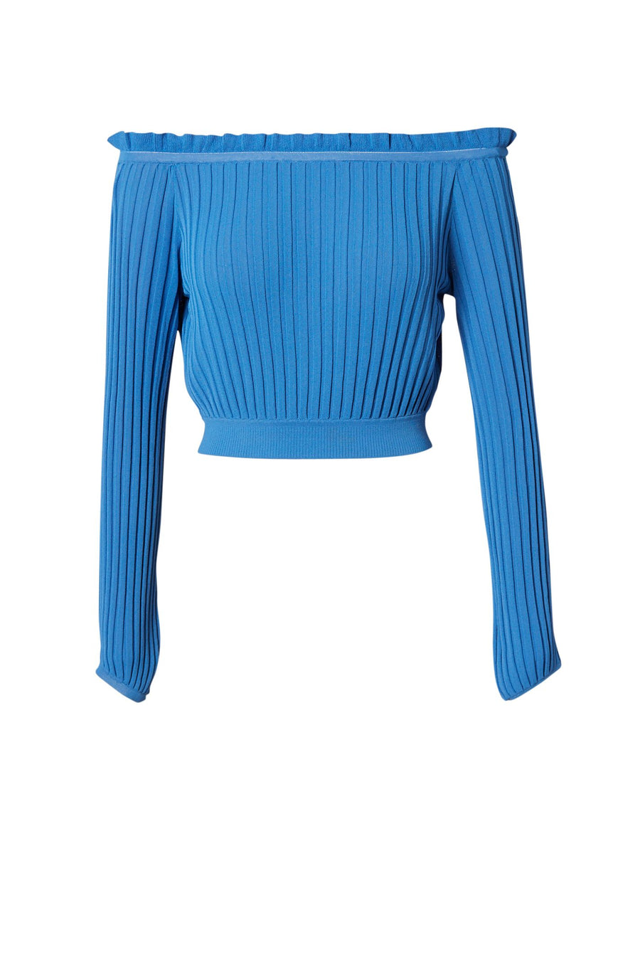 PLEATED RIB CROP TOP, OFF SHOULDER, CROPPED LONG SLEEVE STYLE, COLOR BLUE