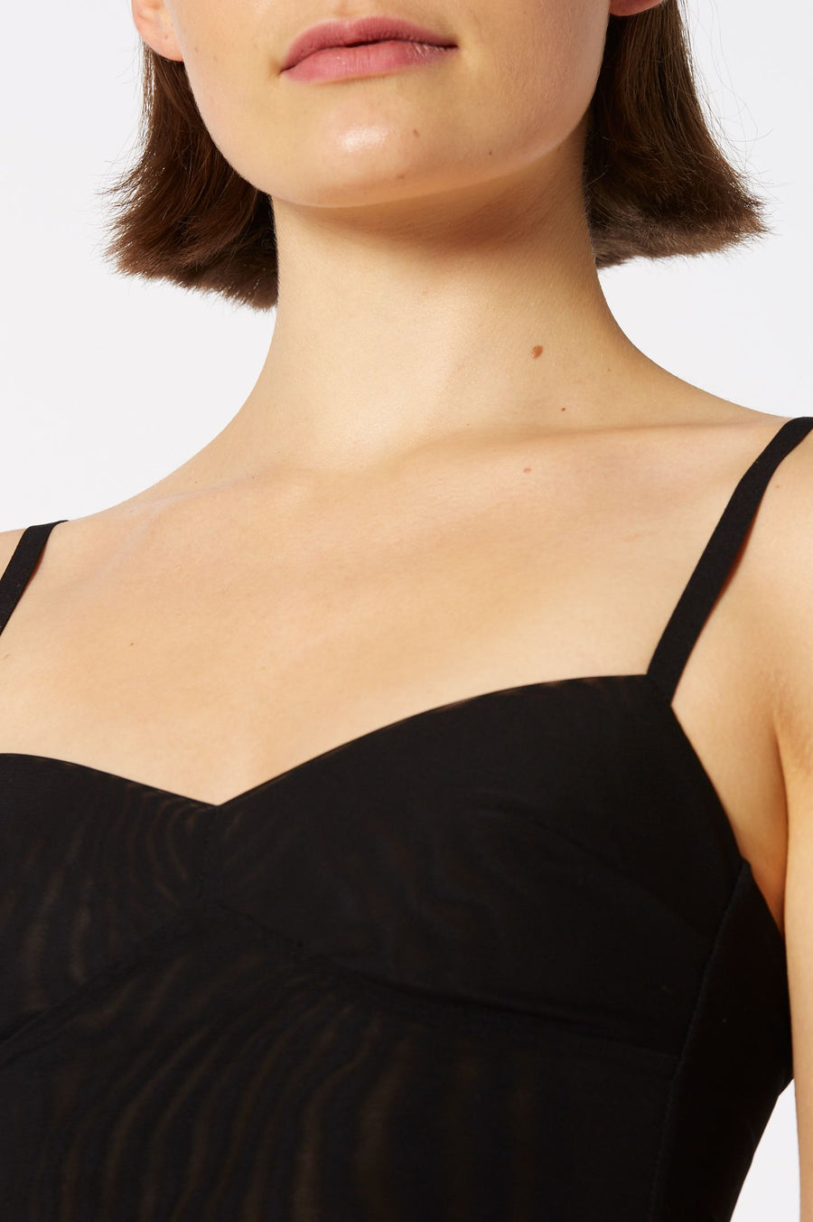 MESH BRALET, SHOESTRING STRAPS WITH BODICE, COLOR BLACK