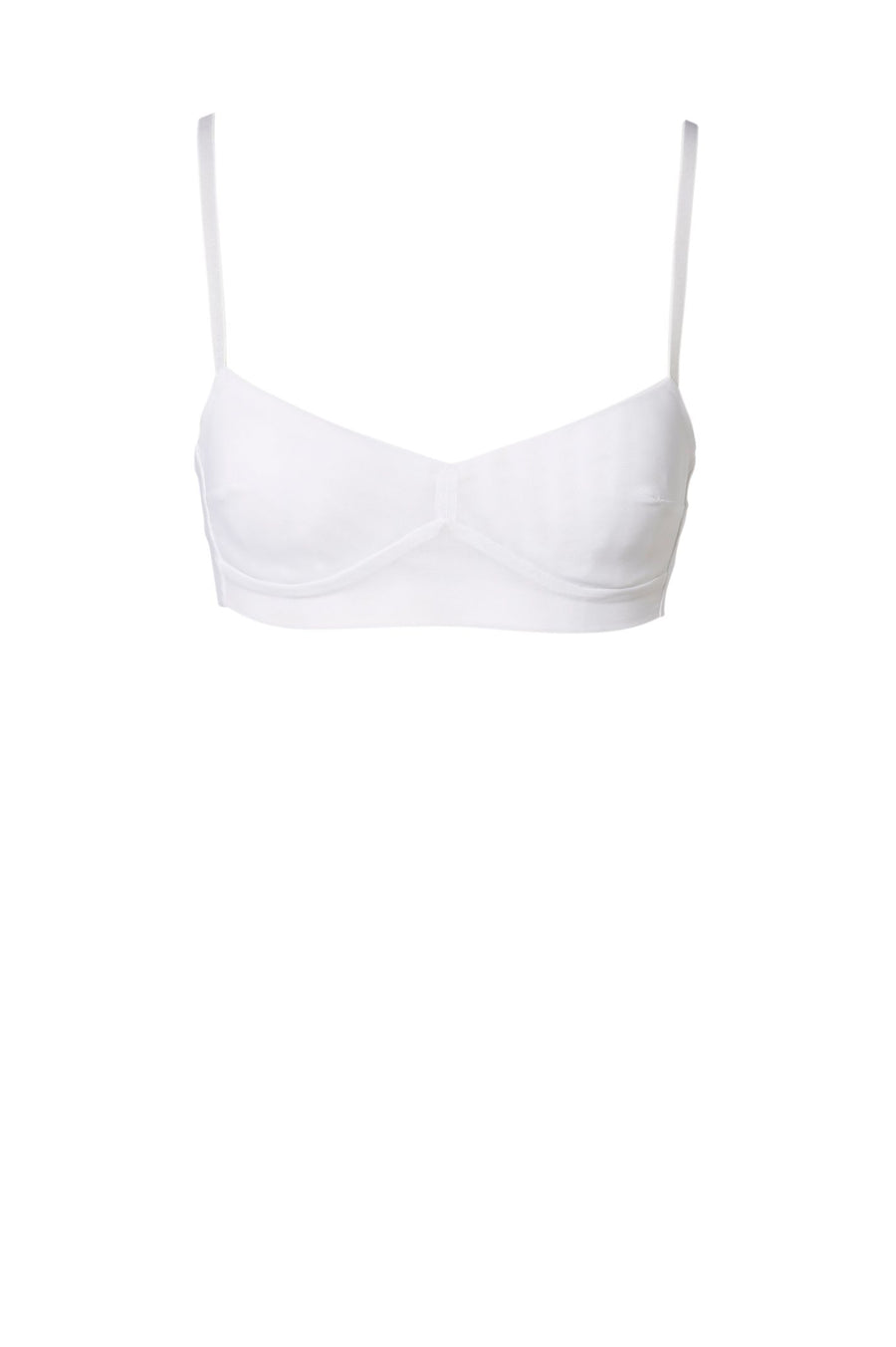 MESH BRA, SHOESTRING STRAPS WITH WIDE BAND, COLOR WHITE