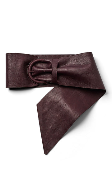 Ruched Leather Belt, soft nappa leather, leather covered buckle, tapered with widest point measuring 14.5cm, color bordeaux