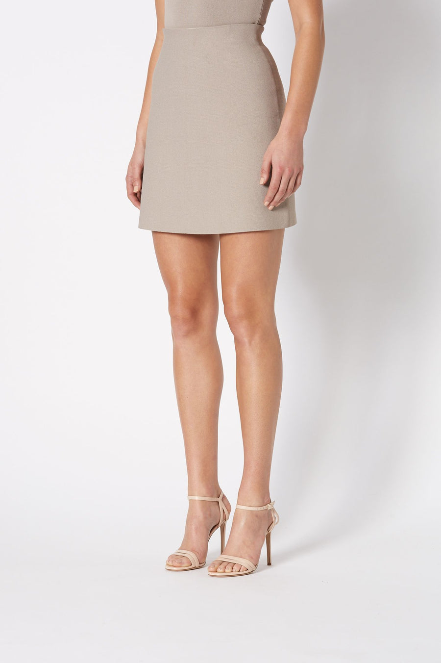 CREPE KNIT MINI SKIRT, high waisted and falls above knee, color clay