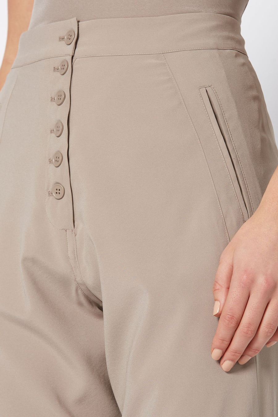Silk Low Rise Button Pant, relaxed fit, elastic waist, dropped crotch, slanted pockets with button fastenings, color clay
