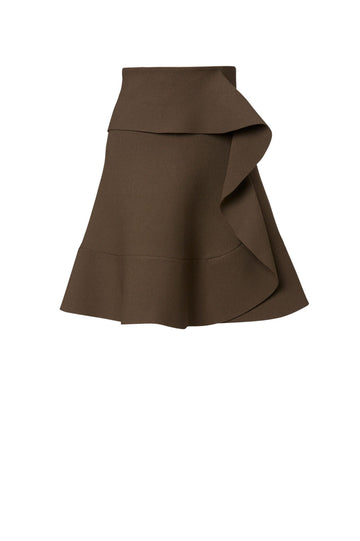 CREPE KNIT RUFFLE SKIRT, FALLS JUST ABOVE KNEE, A-LINE STYLE WITH ONE SIDE RUFFLE, COLOR CAFE