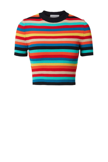 CREPE KNIT STRIPE TEE RAINBOW