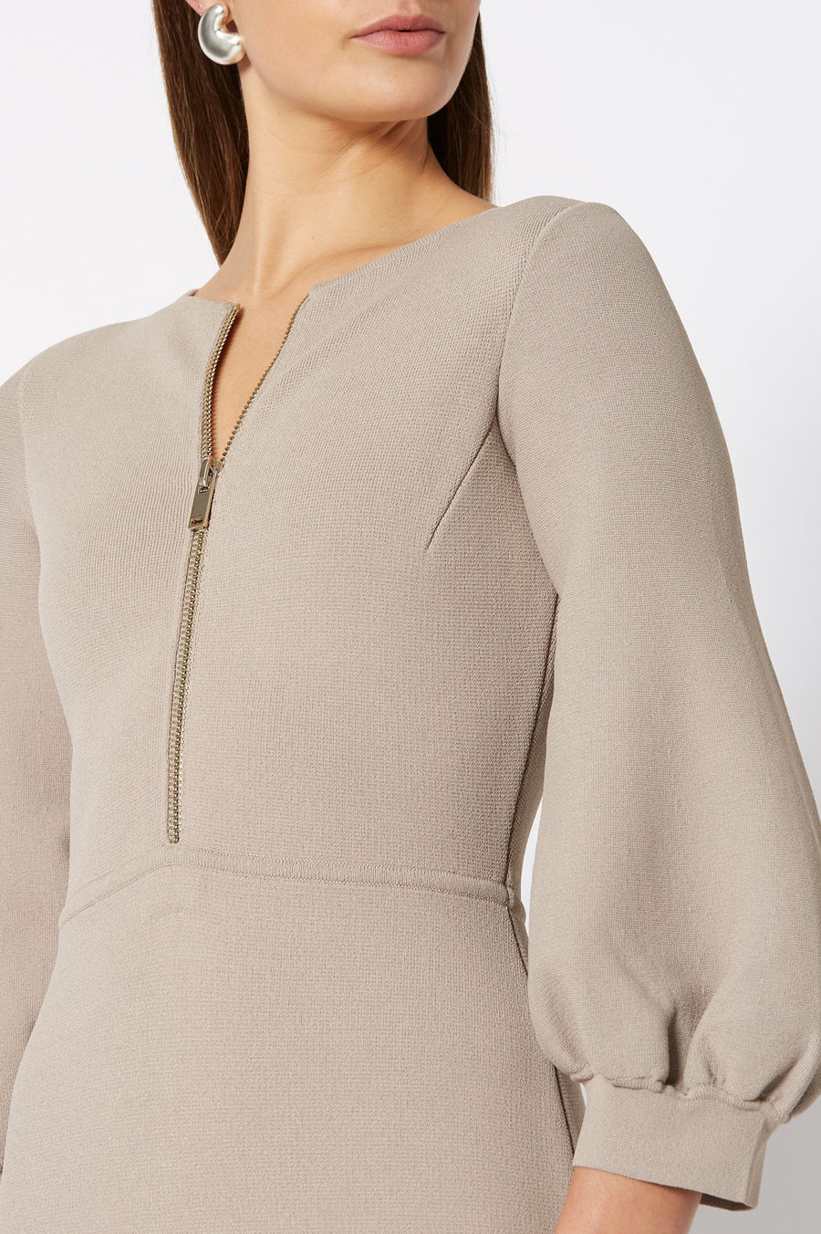 CREPE KNIT ZIP FRONT DRESS, BELL SLEEVES AND FALLS BELOW KNEE, COLOR CLAY