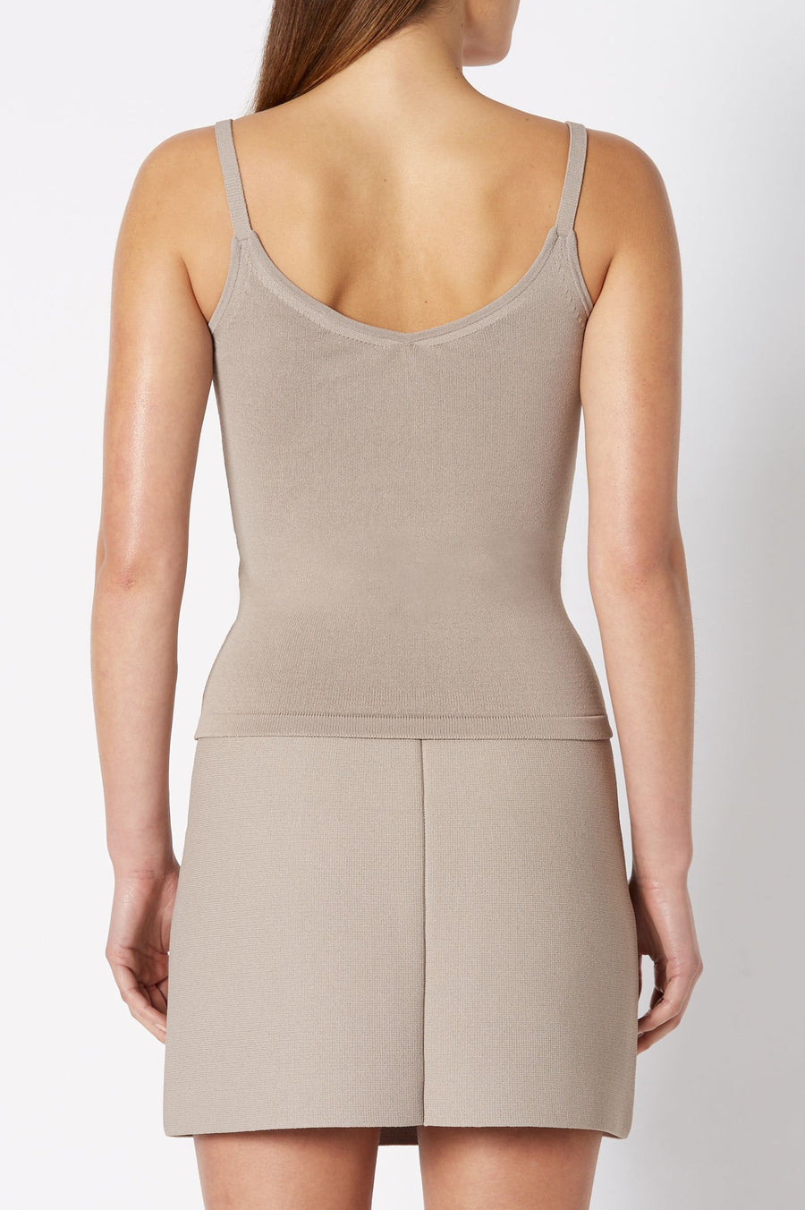 CREPE KNIT CROPPED CAMISOLE, shoestring straps, color CLAY