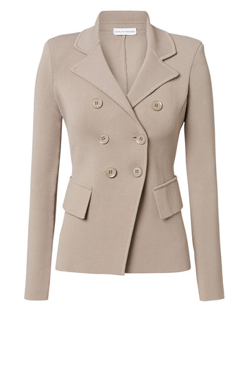CREPE KNIT TAILORED JACKET, DOUBLE BREASTED, LONG SLEEVE, COLOR CLAY