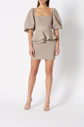 CREPE KNIT SHORT COUPE DRESS, SCOOP NECK WITH BALLOON SLEEVES, RUFFLE AROUND WAIST, COLOR CLAY