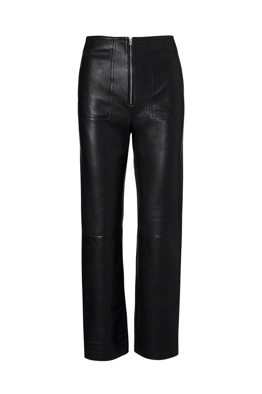 LEATHER ZIP FRONT TROUSER, hits just above ankle, straight leg, BLACK color