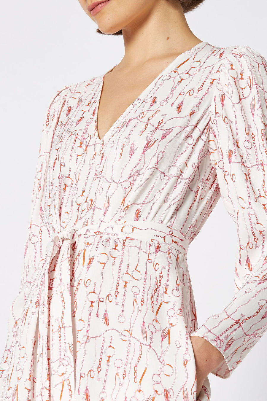 CHAIN PRINT DRESS, falls just above the knee with 3 quarter sleeves and tie belt, color white pink