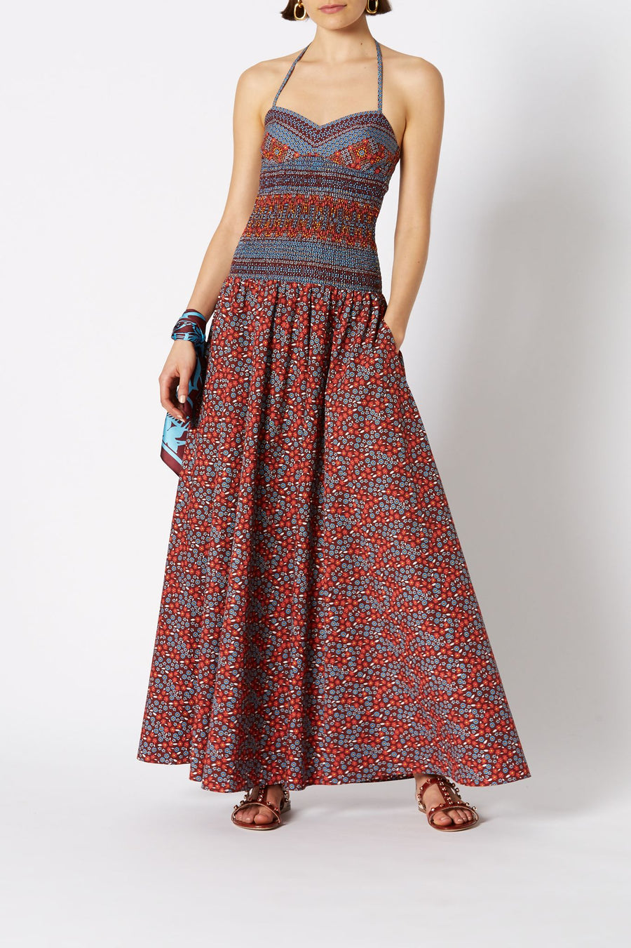 fb-COTTON FLORAL DRESS, shoestring straps, tight around waist and flares with long skirt to ankle, color ruby