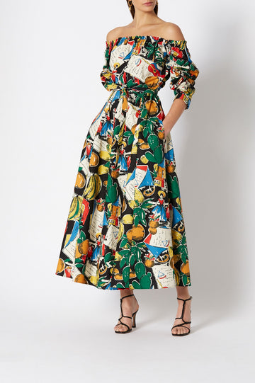 CALYPSO DRESS, WOVEN RUCHED OFF SHOULDER, FALLS JUST ABOVE ANKLE, COLOR BLACK PRINT