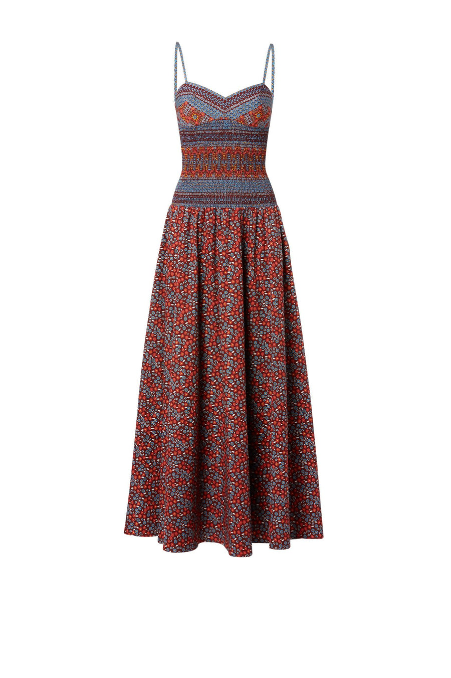 COTTON FLORAL DRESS, shoestring straps, tight around waist and flares with long skirt to ankle, color ruby