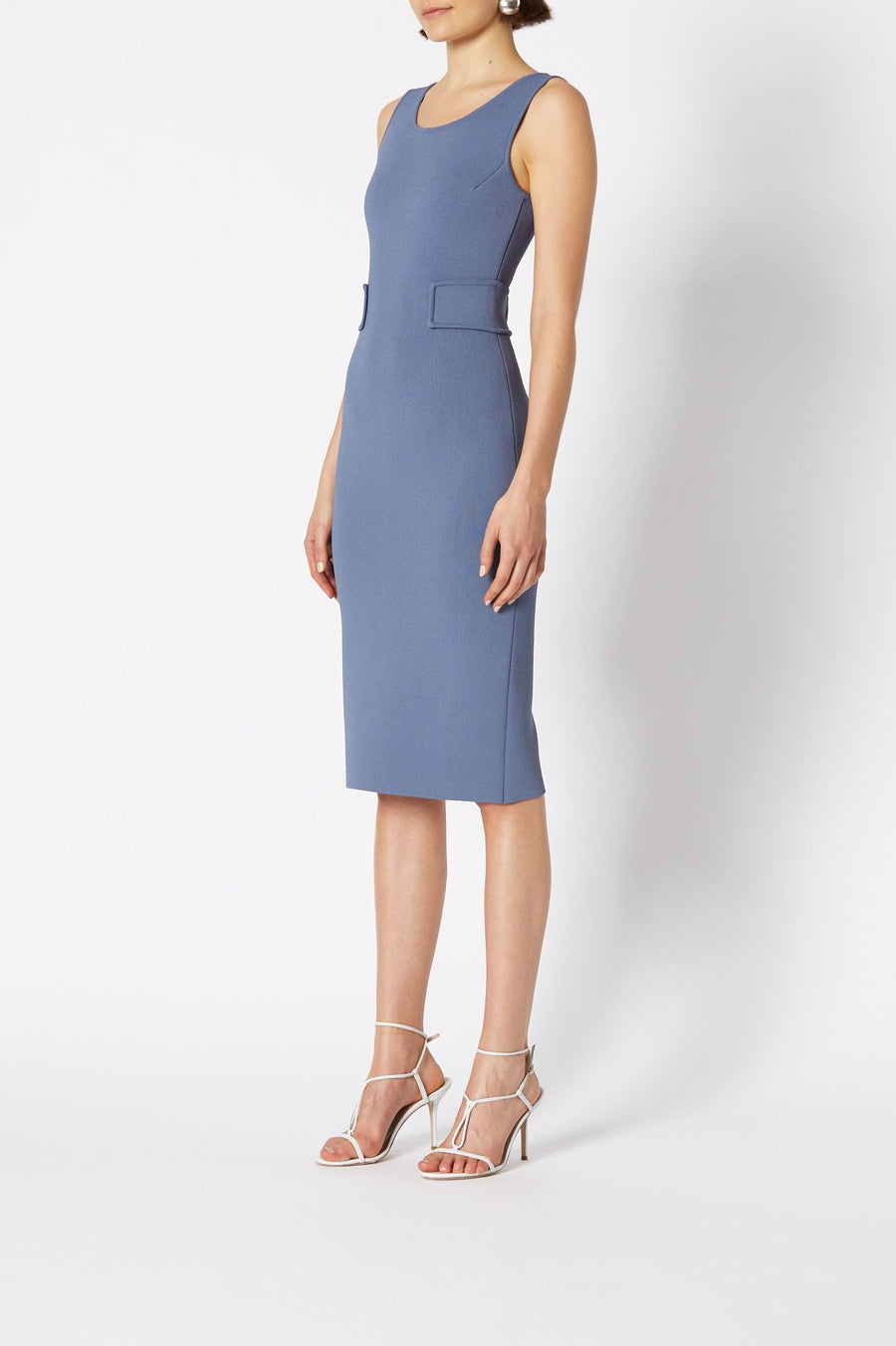CREPE KNIT SCOOP NECK DRESS, SHORT SLEEVE, FALLS BELOW KNEE, FEATURES SIDE PANELS, COLOR LIGHT INDIGO