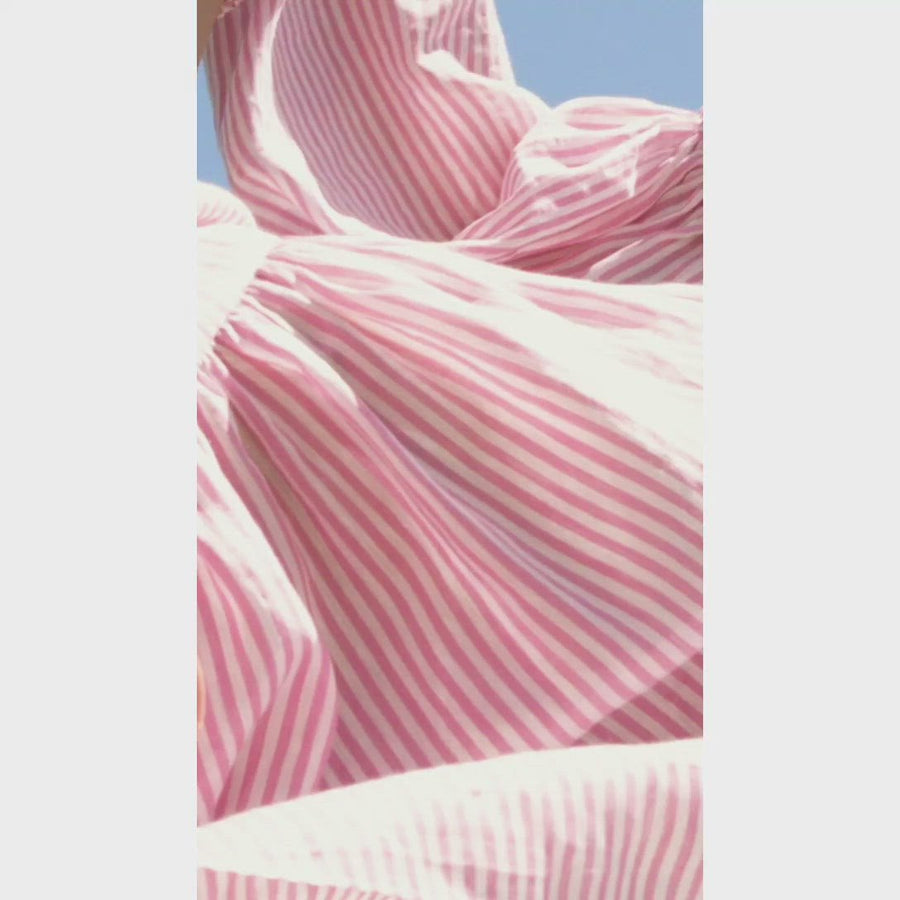 STRIPE VOILE CROPPED TOP PINK-WHITE