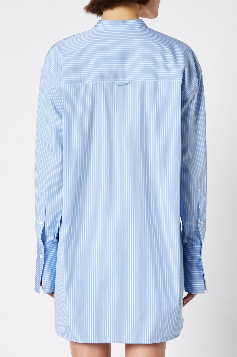 COLLAR STAND SHIRT PALE.BLUE, Loose fit, stay true to size, Long sleeves