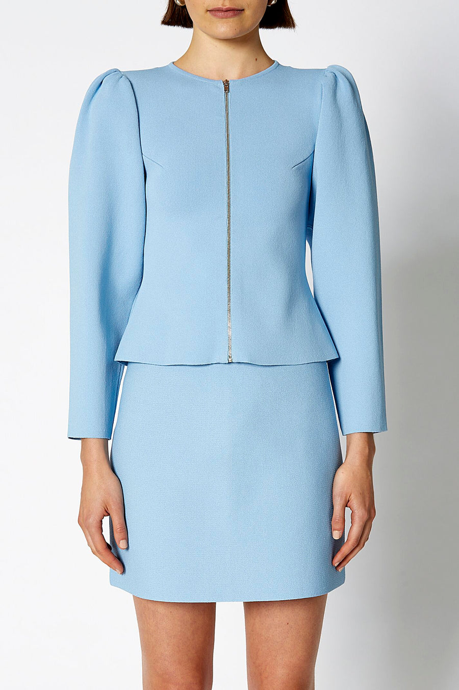 CREPE KNIT GATHER SLEEVE JACKET PALE BLUE, Round neckline, Long sleeve
