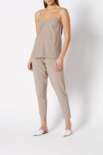 Shoestring Camisole, loose fit, features a v-neckline and shoestring shoulder straps, color clay