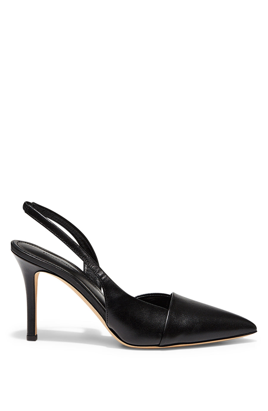 Slingback Pump 9, high heeled slingback, pointed toe, folded edge cap design, leather lining and leather sole, color Nero