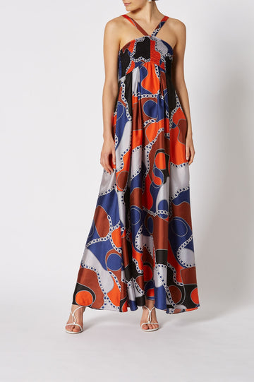 SILK PUZZLE PRINT DRESS MULTI