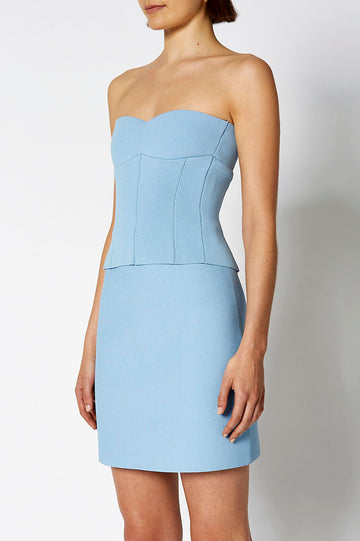 CREPE KNIT BUSTIER PALE BLUE, Slim fit, Strapless