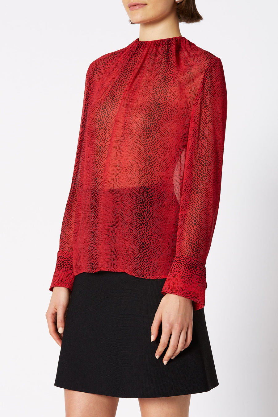 Reptile Print Blouse, Shirred Neck, Color Red, Woven Italian Fabric, Long Sleeve