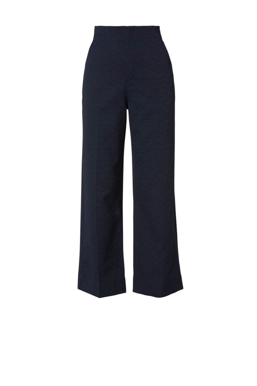 TEXTURED CROPPED TROUSER NAVY, Relaxed fit, High rise