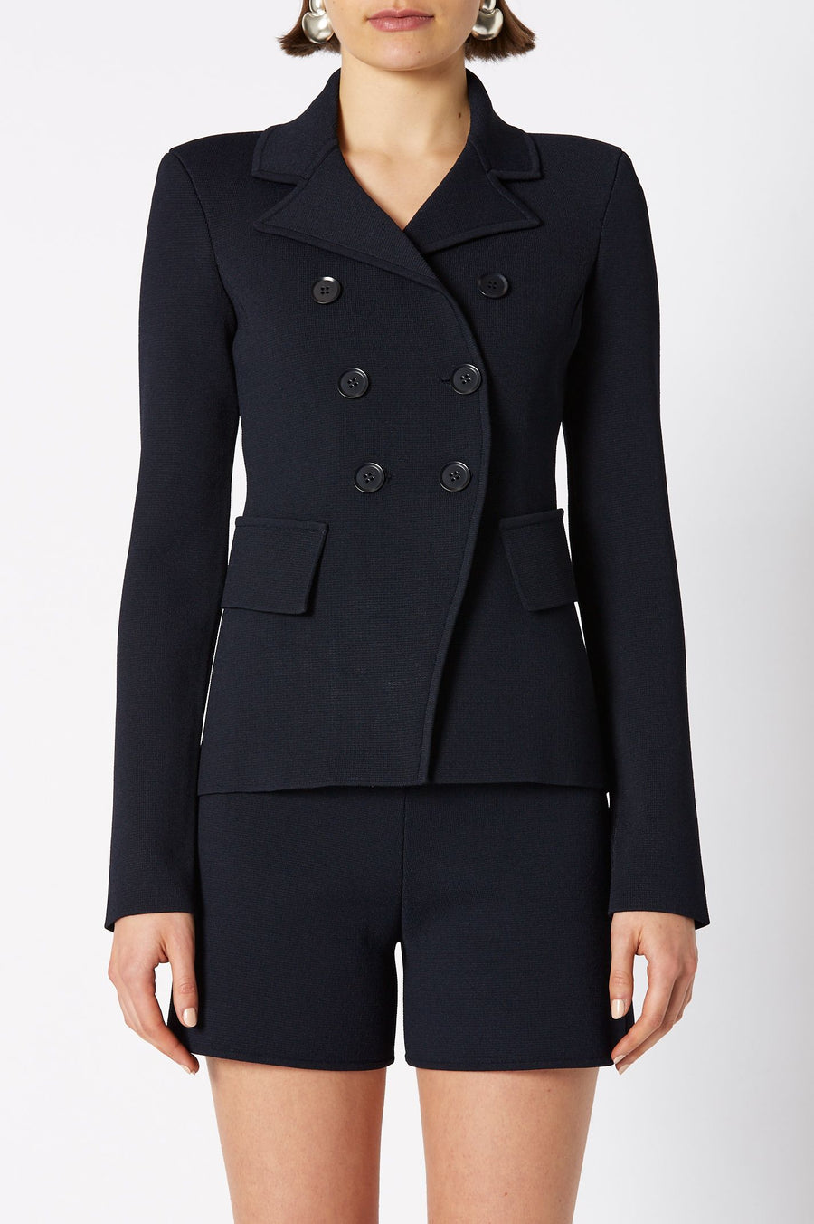 CREPE KNIT TAILORED JACKET, DOUBLE BREASTED, LONG SLEEVE, COLOR NAVY