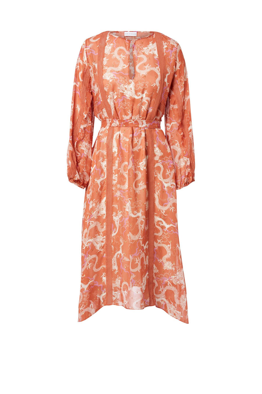 SILK DRAGON LACE TRIM DRESS PEACH