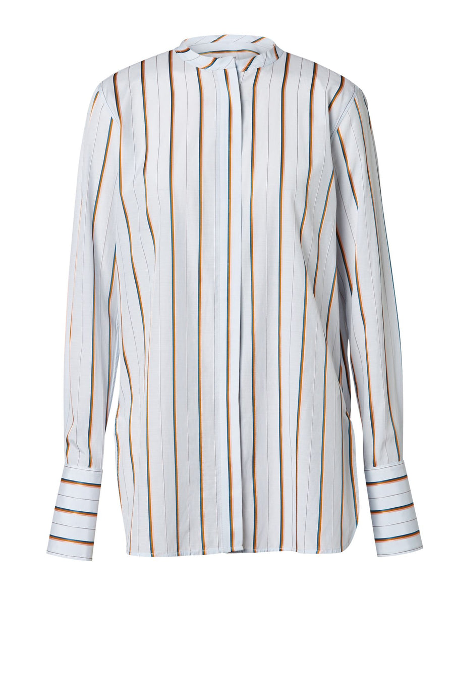 STRIPE SHIRT PALE BLUE, Long sleeves; buttons cuffs