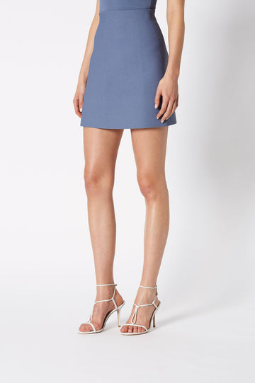 CREPE KNIT MINI SKIRT, high waisted and falls above knee, color light indigo