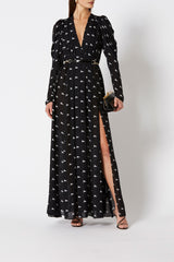 SILK PONY PRINT DRESS BLACK