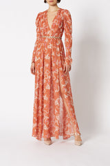 SILK DRAGON PRINT DRESS PEACH