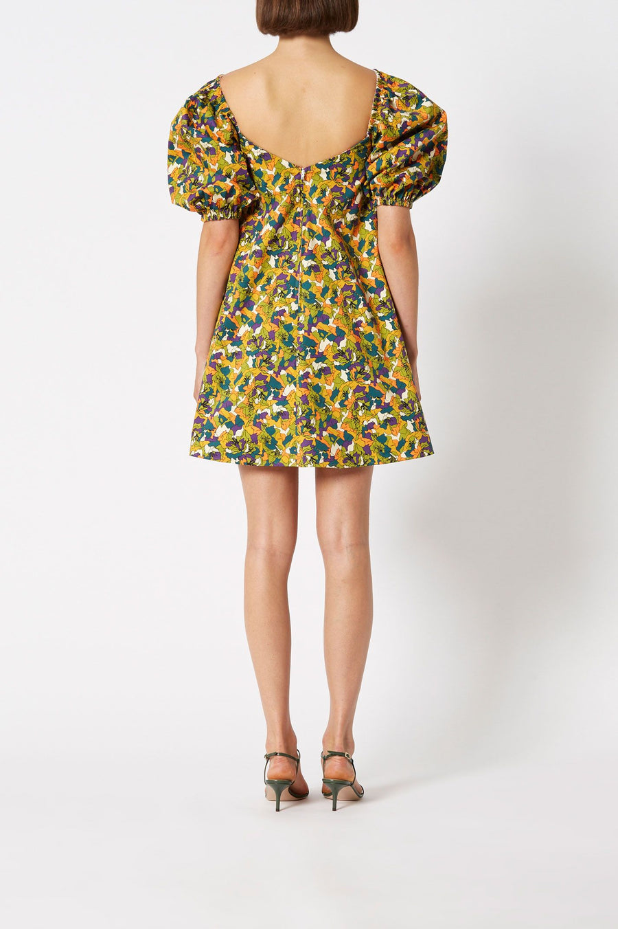 Printed Trapeze Dress Apricot, mini Length, mid sleeves with elasticated cuff, elasticated neckline