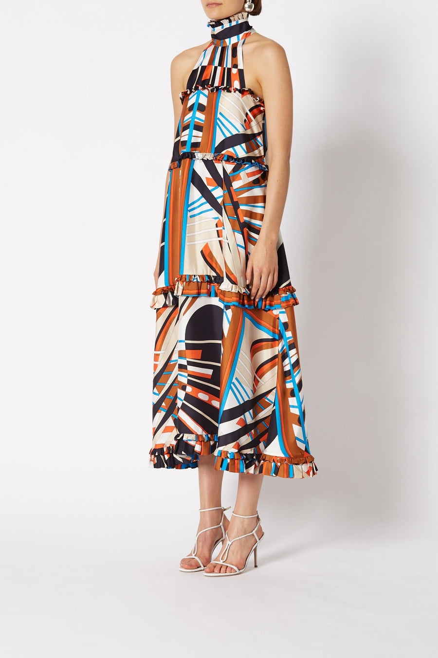 SILK GEOMETRIC DRESS BURNT