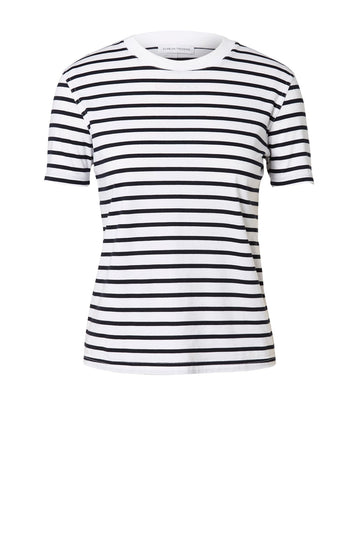 MERCERISED STRIPE T-SHIRT NAVY