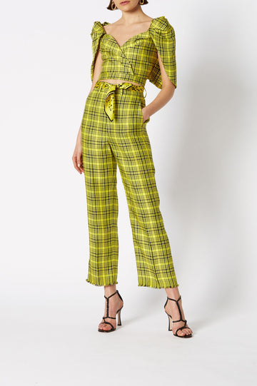 PLAID WRAP TOP, SHOULDER BELL SLEEVES, CROPPED STYLE, ZIP CLOSURE, COLOR YELLOW BLACK