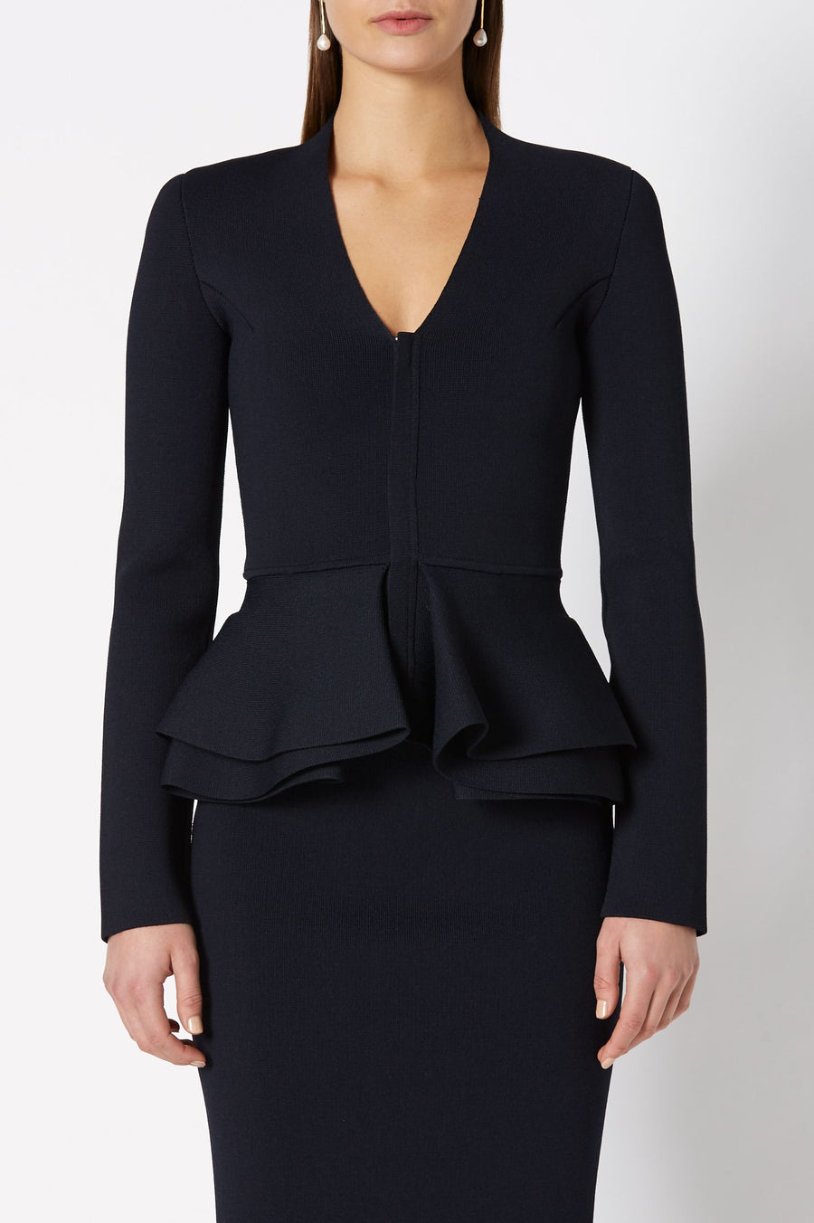 CREPE KNIT V-NECK RUFFLE PEPLUM JACKET, LONG SLEEVES, COLOR NAVY