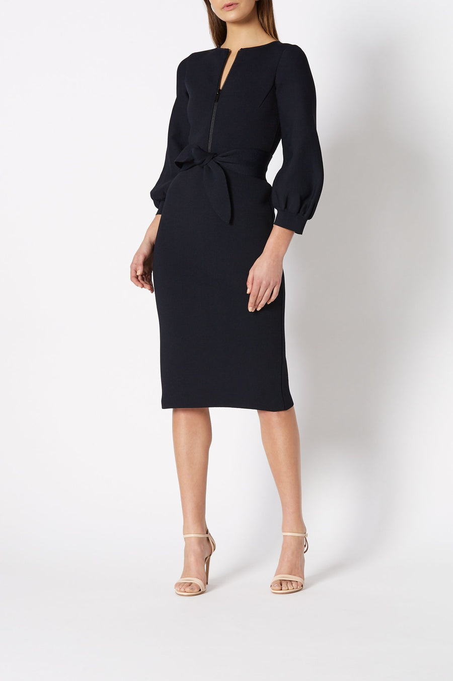 CREPE KNIT ZIP FRONT DRESS, BELL SLEEVES AND FALLS BELOW KNEE, COLOR NAVY
