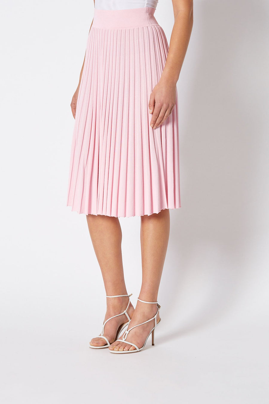 PLEATED RIB LONG SKIRT, HIGH WAISTED SKIRT WHICH FALLS BELOW KNEE, FLOWY STYLE, COLOR PINK