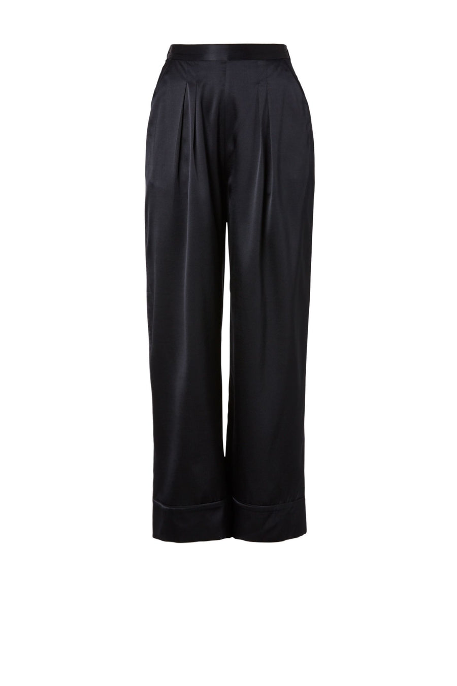 SATIN PIPED TROUSER NAVY, Flat Front Pull-on Trouser, Wide hems