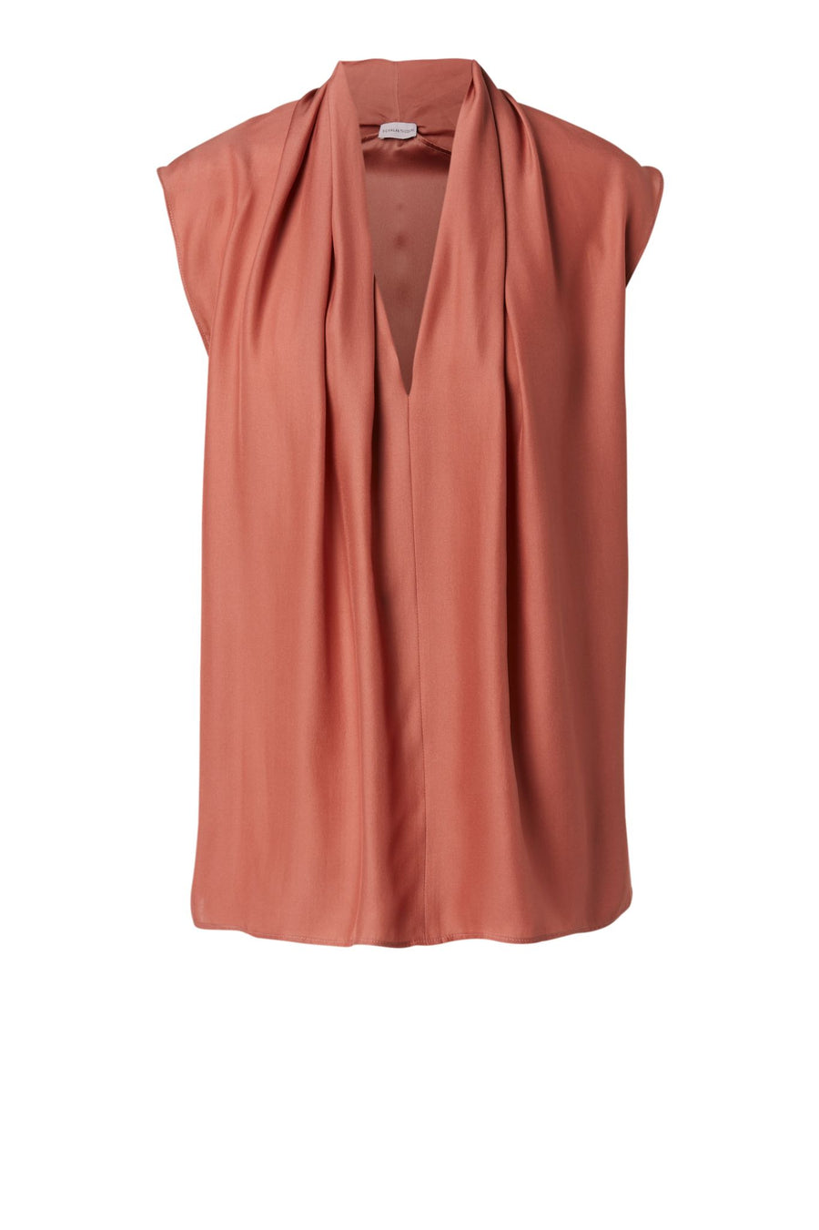 CHARMEUSE V NECK TANK ANTIQUE ROSE