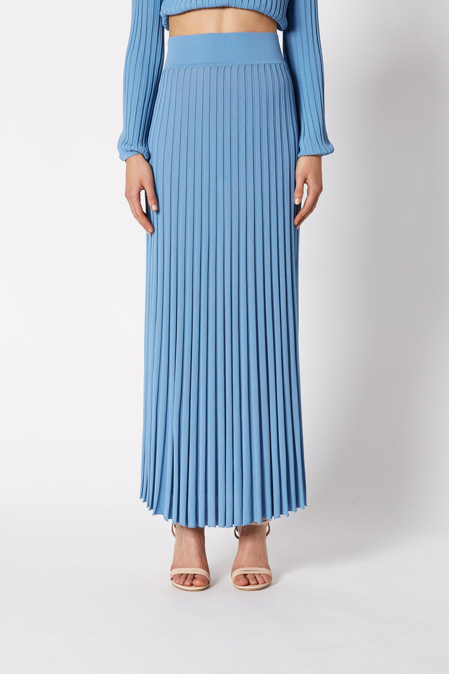 PLEATED RIB LONG SKIRT 16 PALE BLUE, Italian Pleated Rib Knit Fabric