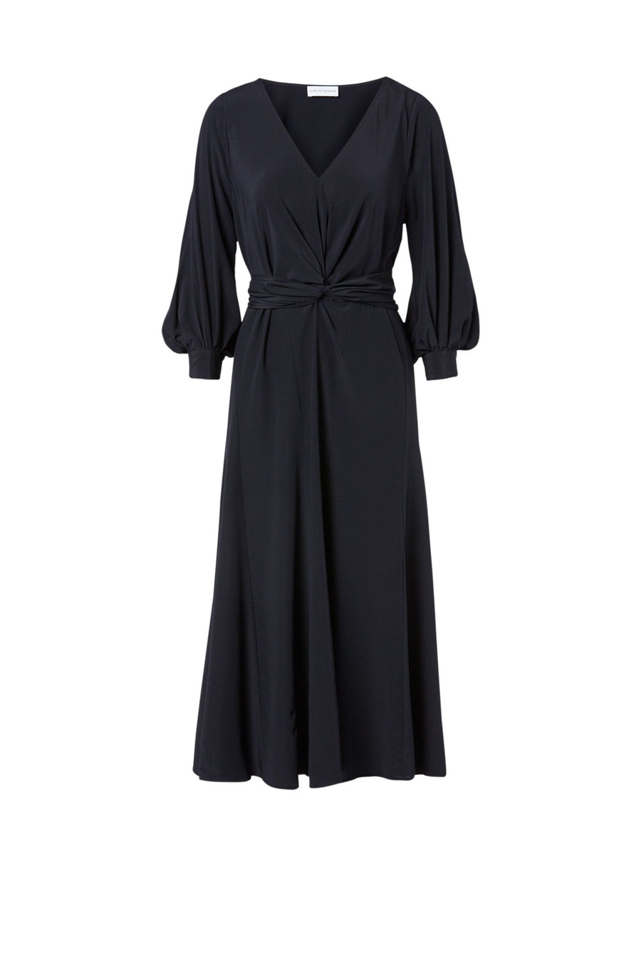 CDC Turban Twist Dress Navy, regular fit, below the knee length, ¾ blouson sleeves, v-neckline.